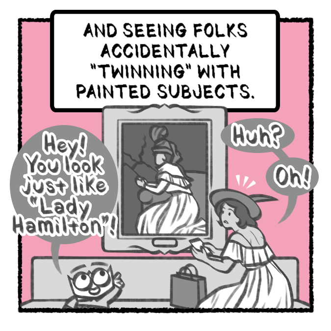 4th panel in comic where small character eagerly point at a painting to let a visitor know she is dressed similarly to the painting
