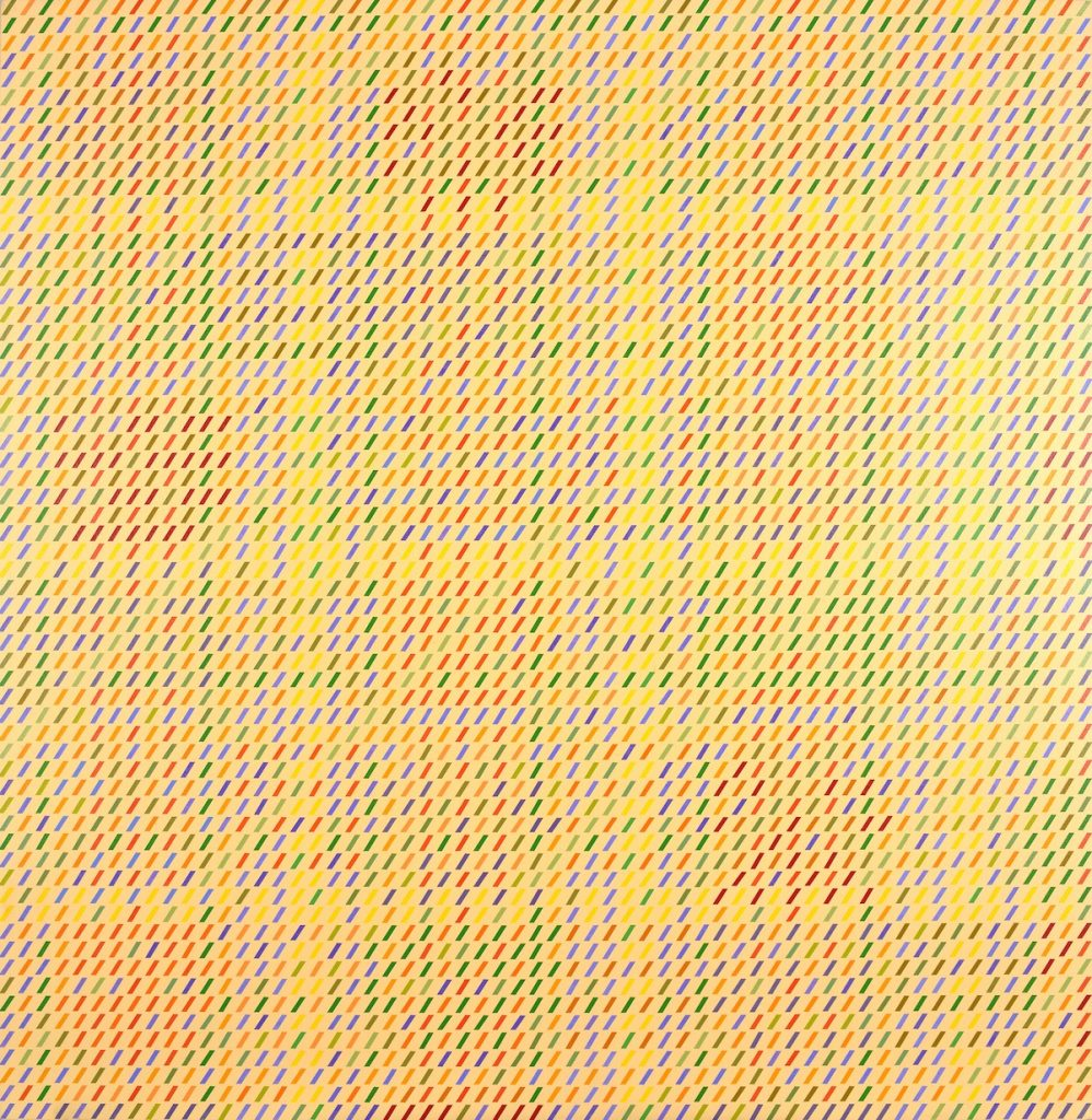 """Gloria Klein, """"Yellow Dawn,"""" 1975, acrylic (synthetic polymer) on canvas, 62 x 60 in., Blanton Museum of Art, The University of Texas at Austin, Gift of Buffie Johnson, 1979.21"""