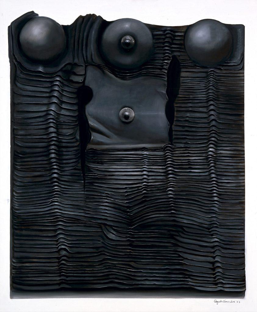 "Agustín Fernández, ""Armadura, series no. 18 [Armor, series no. 18],"" 1973, oil on canvas, 66 5/8 x 55 1/4 in., Blanton Museum of Art, The University of Texas at Austin, Archer M. Huntington Museum Fund, P1973.11.1"