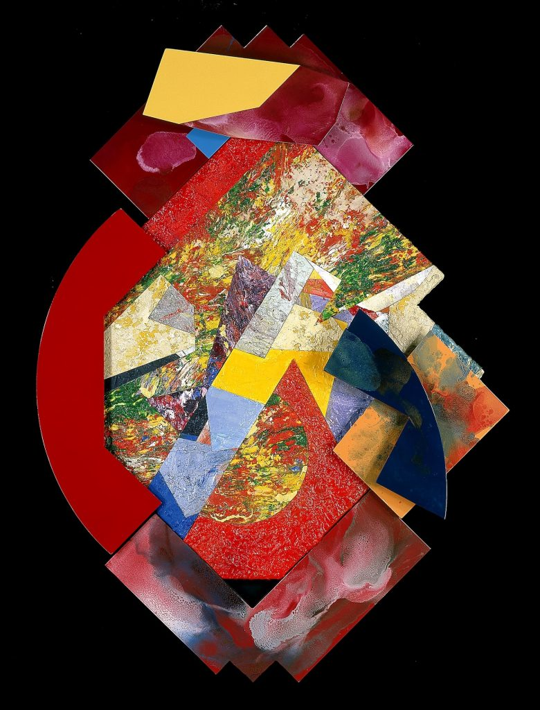"""Sam Gilliam, """"Pantheon II,"""" 1983, acrylic [synthetic polymer] on canvas and polyurethane enamel on aluminum, 81 x 54 1/4 in., Blanton Museum of Art, The University of Texas at Austin, Archer M. Huntington Museum Fund, 1985.35"""