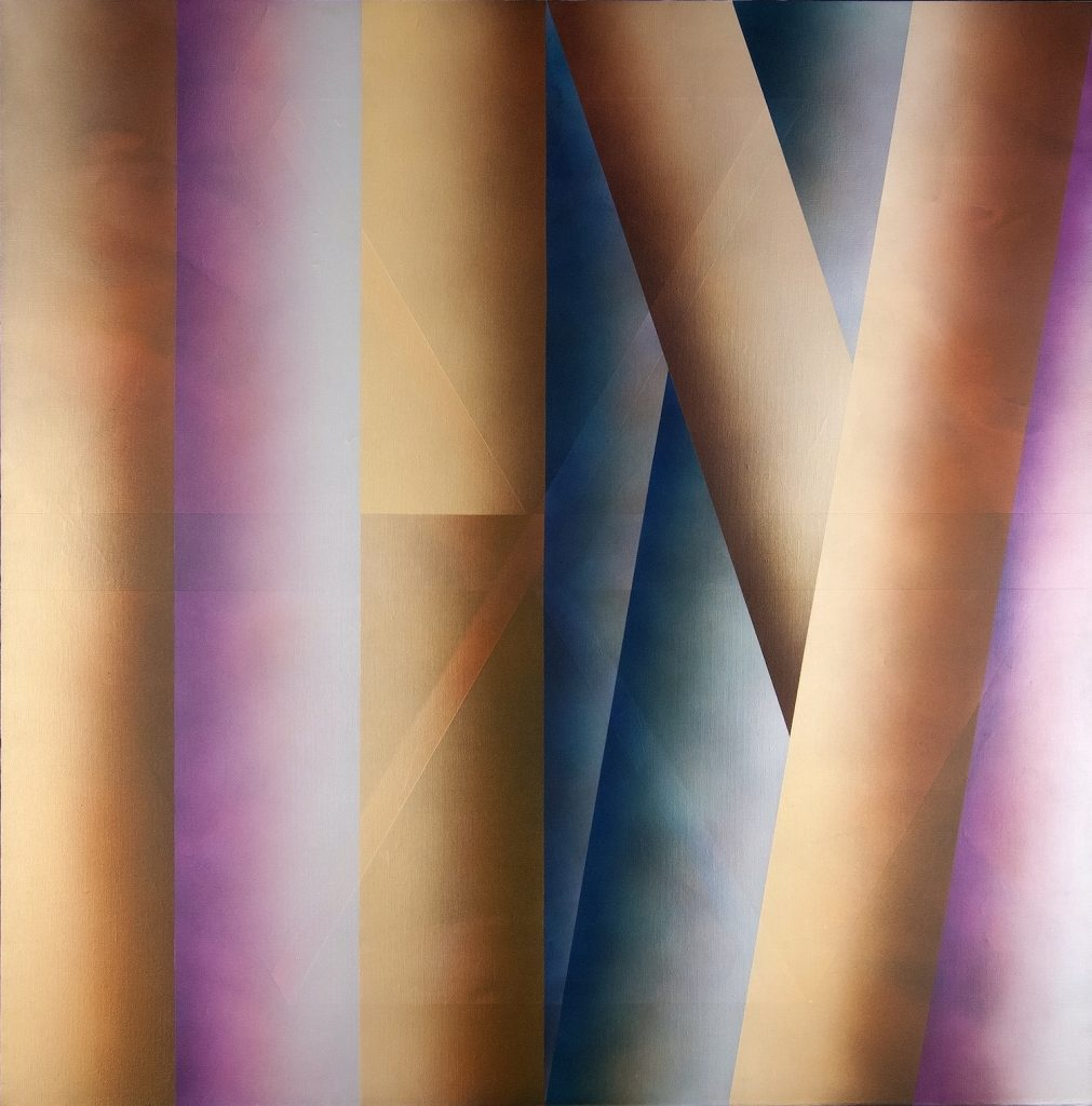 """Rogelio Polesello, """"Dos diagonals [Two Diagonals],"""" 1980, acrylic [synthetic polymer] on canvas, 63 3/8 x 63 3/8 in., Blanton Museum of Art, The University of Texas at Austin, Gift of Barbara Duncan, 1991.418"""