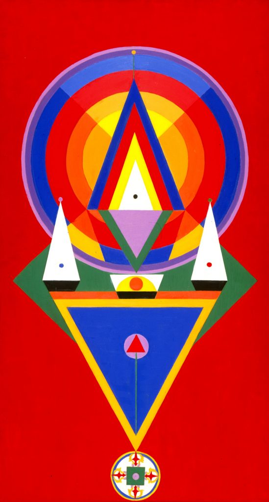 """Charmion von Wiegand, """"Offering to the Adi-Buddha, Amoghasiddha,"""" 1966–1967, oil on canvas, 50 x 27 3/16 in., Blanton Museum of Art, The University of Texas at Austin, Michener Acquisitions Fund, P1969.19.1"""