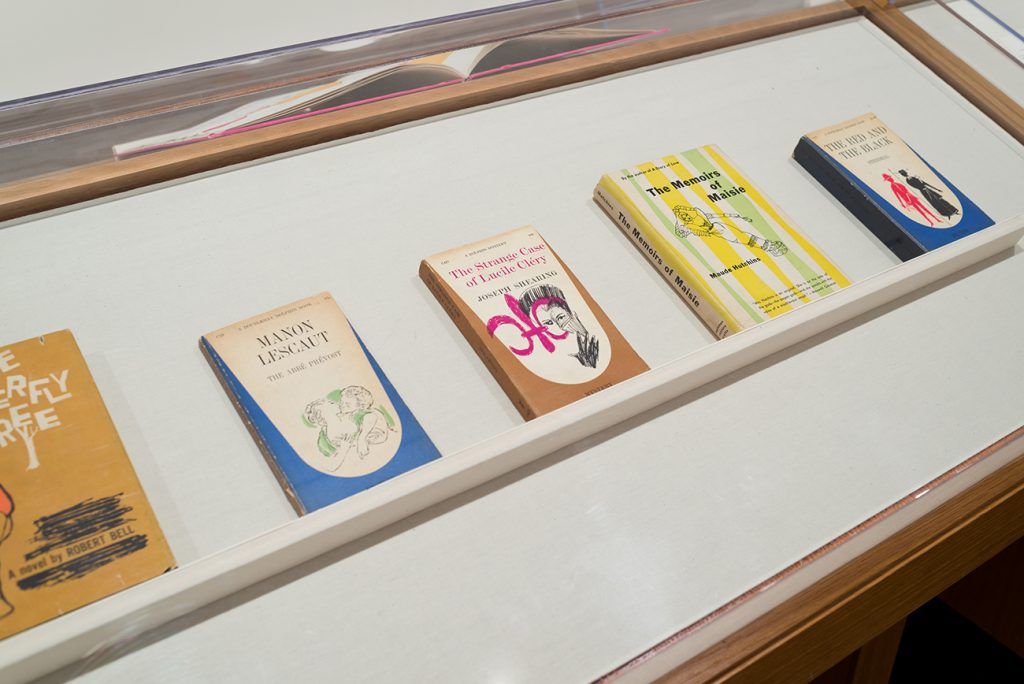 Printed books featuring brightly covered illustrations on their covers in a display case