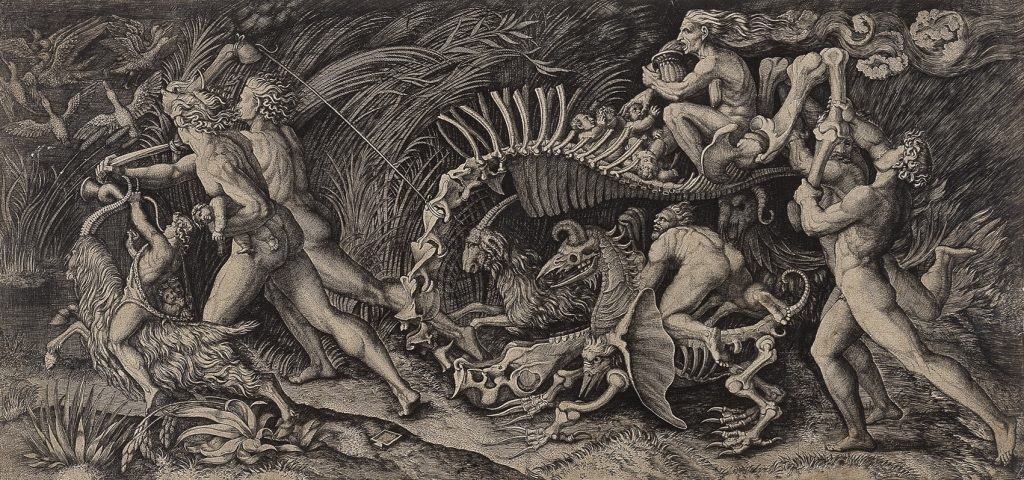 "Marcantonio Raimondi and Agostino dei Musi called Agostino Veneziano, ""Lo Stregozzo [The Witches' Procession],"" after Raphael or Giulio Romano, 1520s, engraving, 11 13/16 x 24 13/16 in., Blanton Museum of Art, The University of Texas at Austin, The Leo Steinberg Collection, 2002"