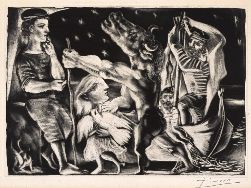 """Pablo Picasso, """"Minotaure aveugle guidé par une fillette dans la nuit [Blind Minotaur Guided by a Young Girl in the Night],"""" plate 97 from the Suite Vollard, aquatint and drypoint, 13 3/8 x 17 5/16 in., Blanton Museum of Art, The University of Texas at Austin, The Leo Steinberg Collection, 2002"""