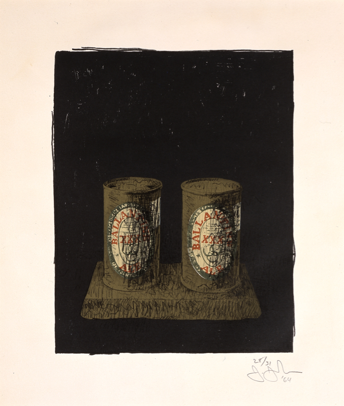 """Jasper Johns, """"Ale Cans Sheet,"""" 1964, Color lithograph from seven stones, 22 13/16 in. x 17 11/16 in., Blanton Museum of Art, The University of Texas at Austin, The Leo Steinberg Collection, 2002"""