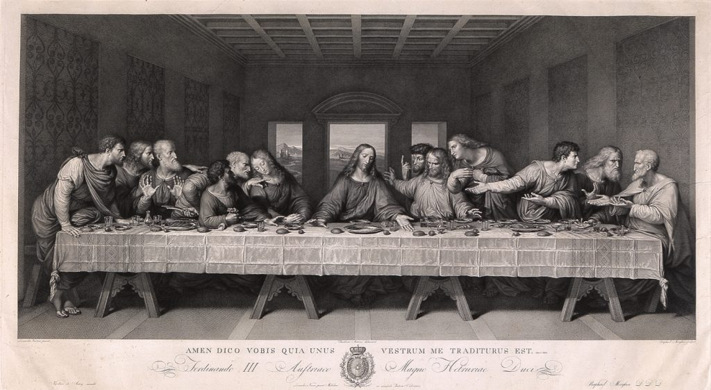 """Raphael Morghen, """"The Last Supper, after Leonardo da Vinci,"""" 1800, Etching and engraving, 25 13/16 in. x 40 11/16 in., Blanton Museum of Art, The University of Texas at Austin, The Leo Steinberg Collection, 2002"""