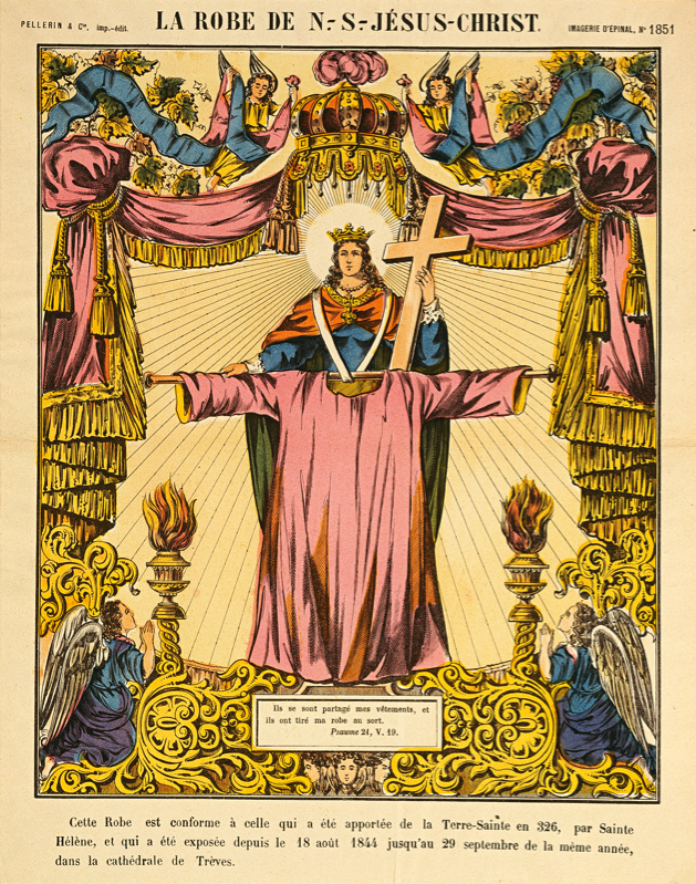 """Anonymous, """"La Robe de N.-S. Jésus-Christ, number 1851 from Imagerie d'Epinal,"""" Chromolithograph on newsprint, 11 5/8 in. x 15 1/2 in., Blanton Museum of Art, The University of Texas at Austin, The Leo Steinberg Collection, 2002"""