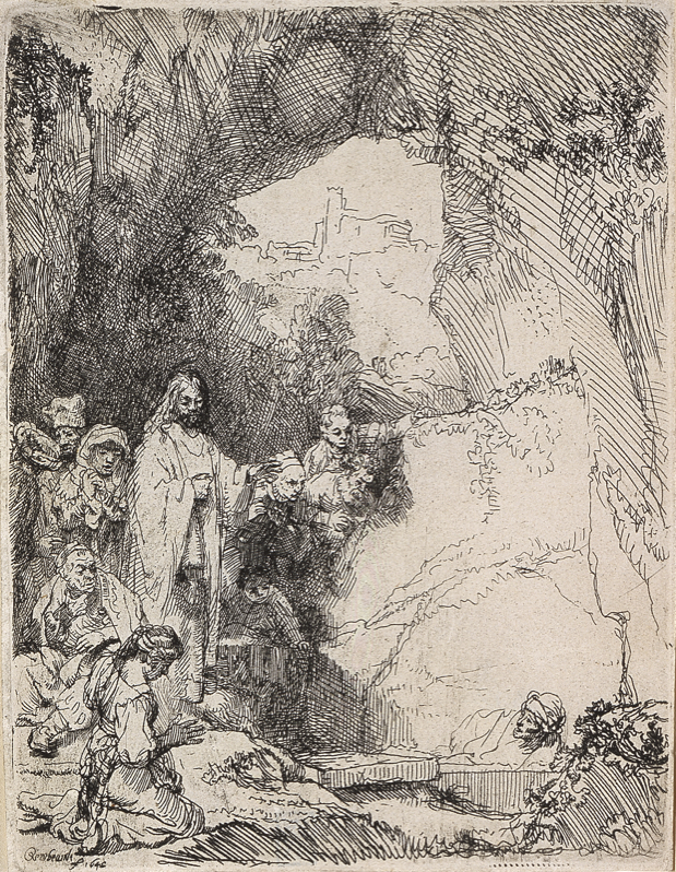 """Rembrandt Harmensz. van Rijn, """"The Raising of Lazarus,"""" 1642, Etching, 5 15/16 in.x 4 1/2 in., Blanton Museum of Art, The University of Texas at Austin, The Leo Steinberg Collection, 2002"""
