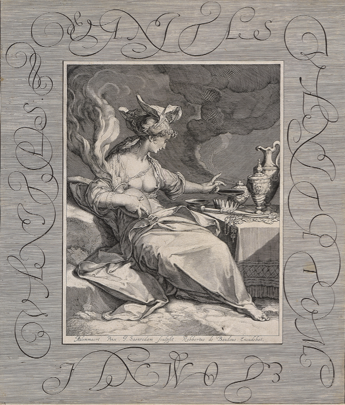 """Jan Saenredam, """"The Vanity of Worldly Possessions, after Abraham Bloemaert,"""" 1600, Engraving, 14 13/16 in. x 12 5/8 in., Blanton Museum of Art, The University of Texas at Austin, The Leo Steinberg Collection, 2002"""