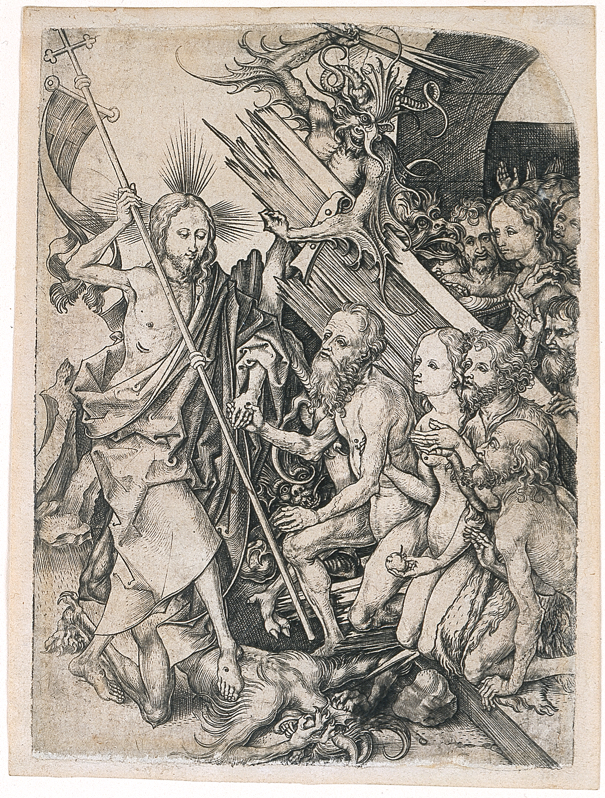 """Martin Schongauer, """"Christ in Limbo, from The Passion of Christ,"""" 1470-1482, Engraving, 6 9/16 in. x 4 13/16 in., Blanton Museum of Art, The University of Texas at Austin, The Leo Steinberg Collection, 2002"""