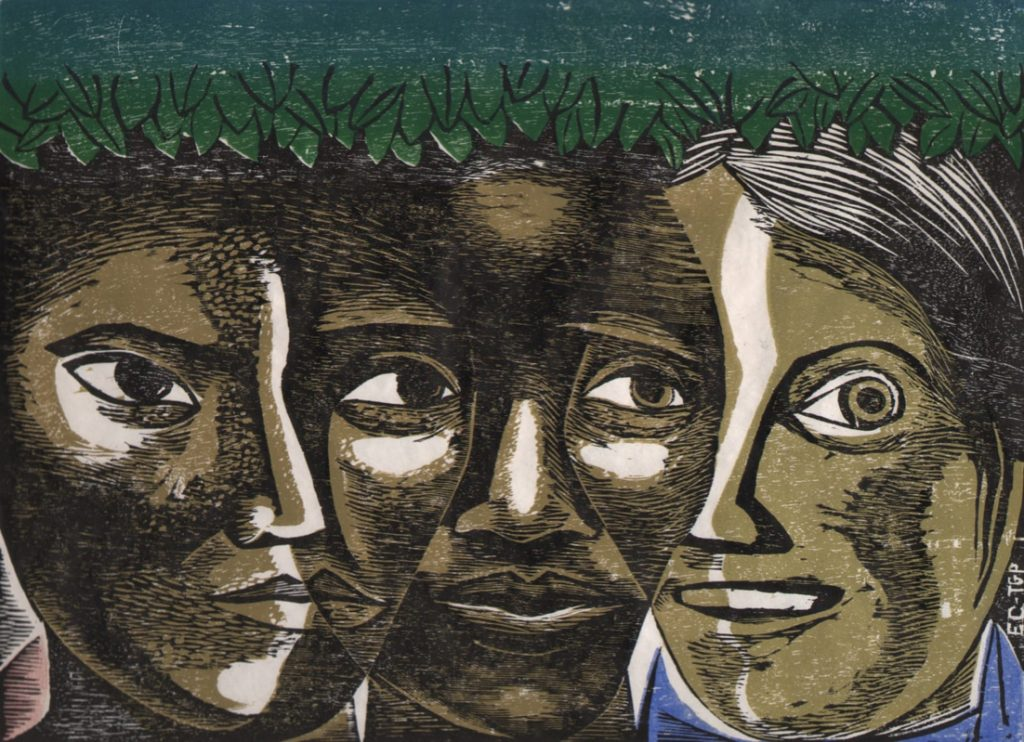 horizontal color woodcut with three women's faces overlapping