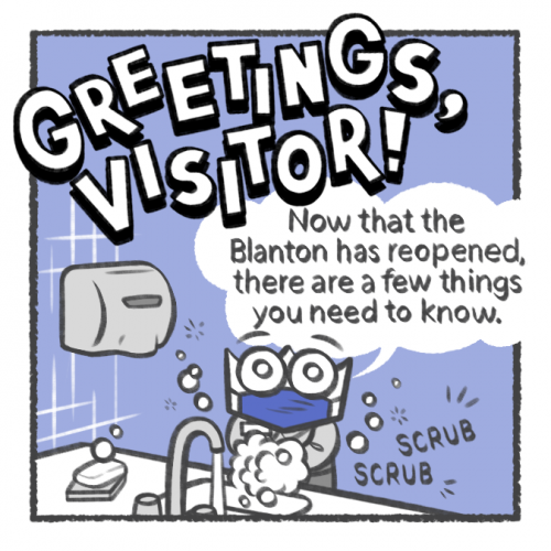 "A comic strip illustration from the ""Greetings, Visitor"" series design by Manami Maxted."