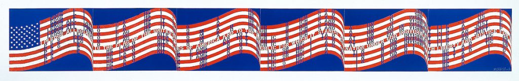 """Vito Acconci, """"Wav(er)ing Flag,"""" 1990, three-color lithograph on six sheets, 18 x 24 in. (each sheet), Blanton Museum of Art, The University of Texas at Austin, Gift of John A. Robertson, 1995 © Vito Acconci"""