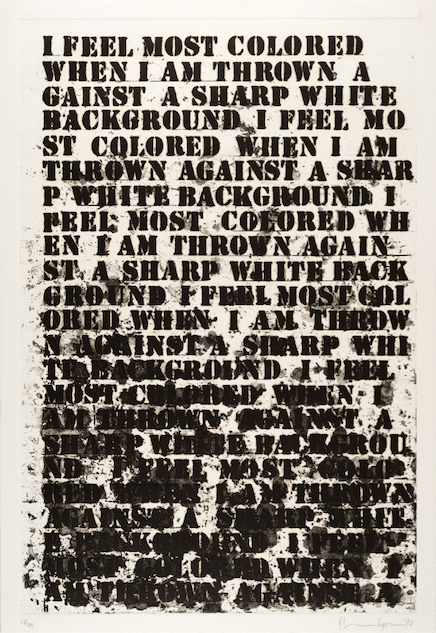 """Glenn Ligon, """"Untitled,"""" 1992, from """"Untitled (Four Etchings),"""" soft-ground etching, aquatint, spit bite, and sugarlift on paper, edition 26/45 and 10 APs, 25 x 17 3/8 inches, Blanton Museum of Art, The University of Texas at Austin, Bequest of John A. Robertson, 2018, © Glenn Ligon; Courtesy of the artist; Hauser & Wirth, New York; Regen Projects, Los Angeles; Thomas Dane Gallery, London; and Chantal Crousel, Paris."""