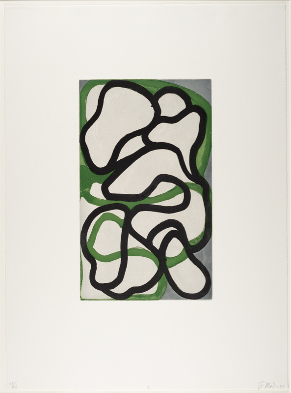 """Brice Marden, """"Suzhou I,"""" 1996–1998, color etching with aquatint, drypoint, and scraping, 25 3/4 x 18 3/4 in., Blanton Museum of Art, The University of Texas at Austin, Bequest of John A. Robertson and gift of Carlota S. Smith in honor of Professor Richard Schiff, Effie Marie Cain Regents Chair in Art, The University of Texas at Austin, 2018 © Brice Marden"""