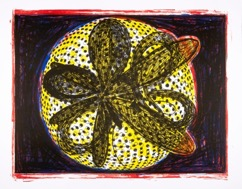 Printed lithograph of a circular yellow shape filled with black dots and a flower-like pattern in the middle.