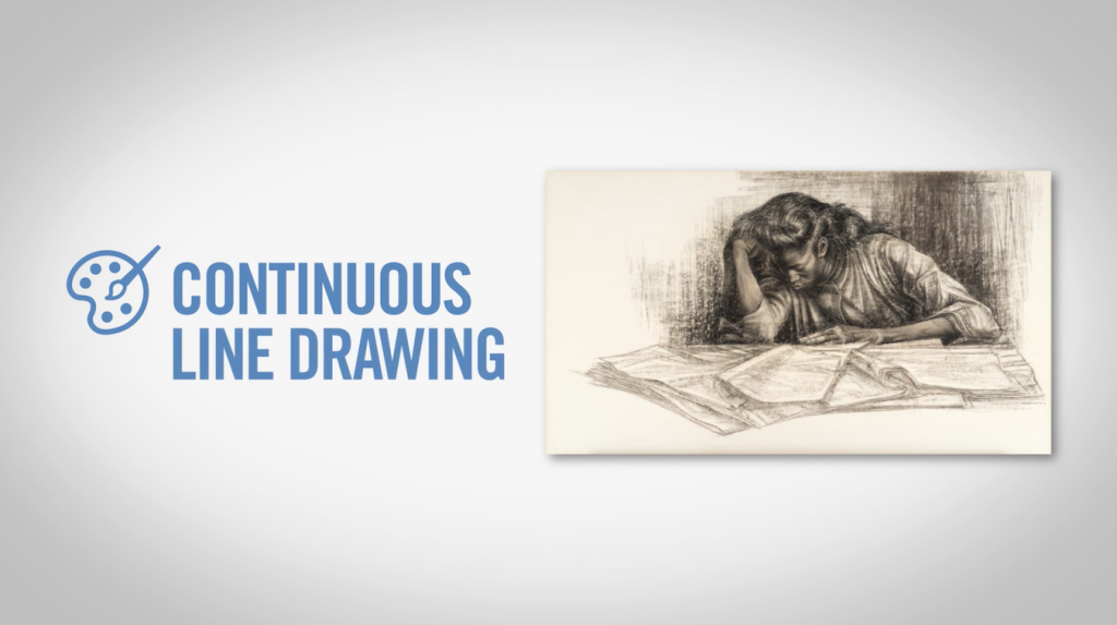 a title slide featuring a sketch by Charles White of a women drawing with her head in her hand.