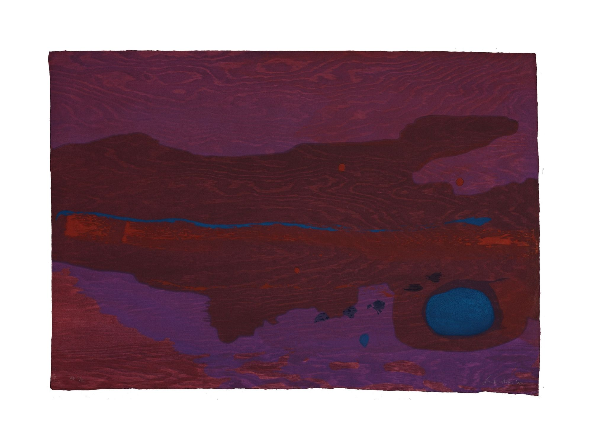 An abstract painting with various tones of purple.