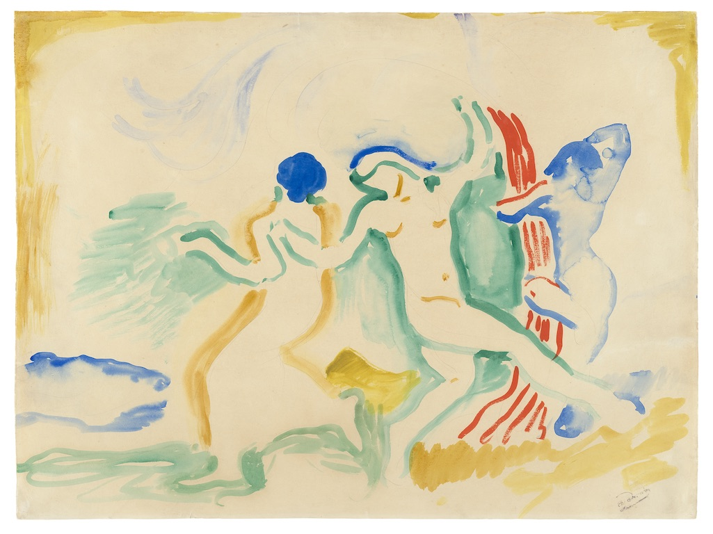 Colored drawing of people dancing in a field