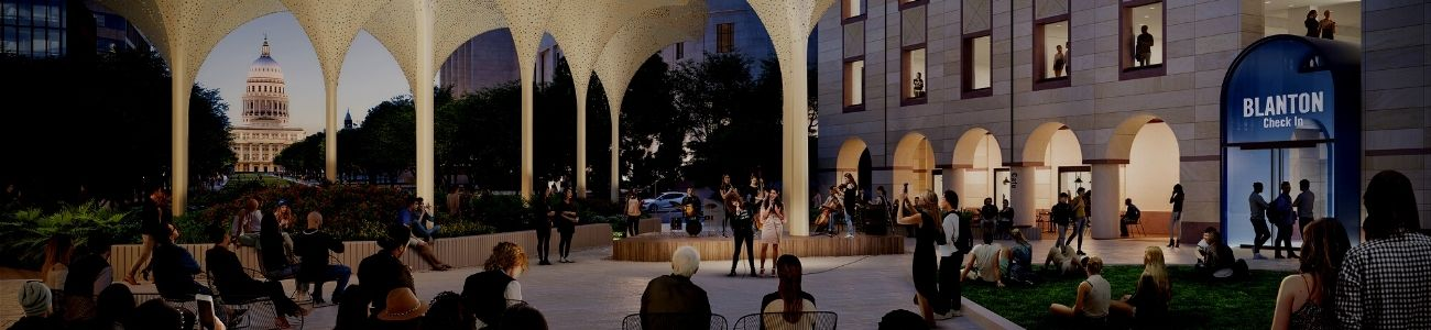 Rendering of the new grounds of the Blanton Museum. Large petal-like structures frame a backdrop of the Capitol building and there are people sitting around on chairs enjoying the night sky.