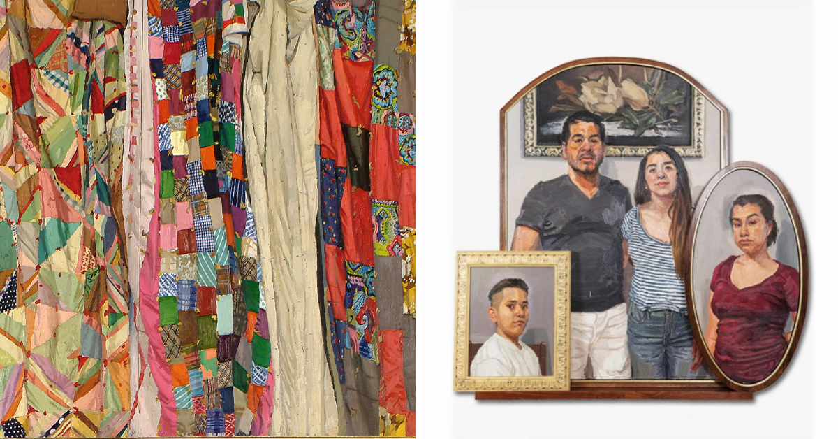 Two artworks, on the left a painting of many folds of fabric, in patchwork colors. On the right, a trio of portraits focusing on a family of four people.