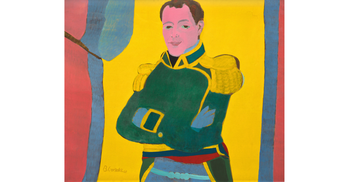 brightly painted portrait of man in fancy military coat with arms crossed.